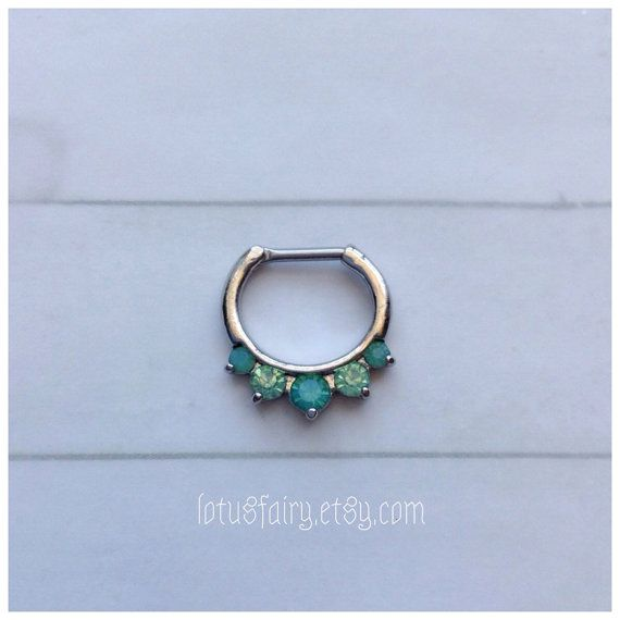 Green Opalite septum clicker, septum ring, Mermaid green,