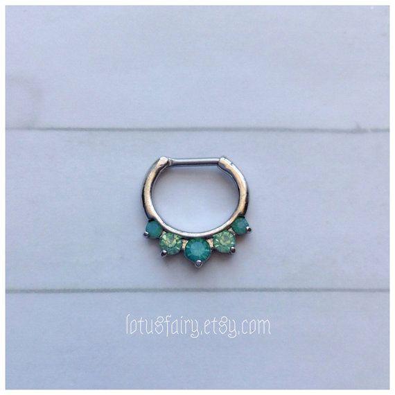 Green Opalite septum clicker, septum ring, Mermaid green,