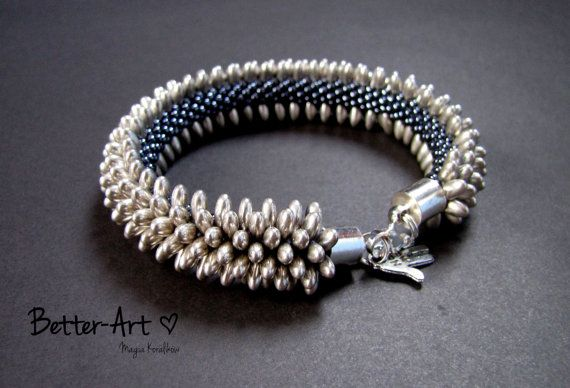 YOU CAN ORDER Bead crochet bracelet Silver and by Magicbeading