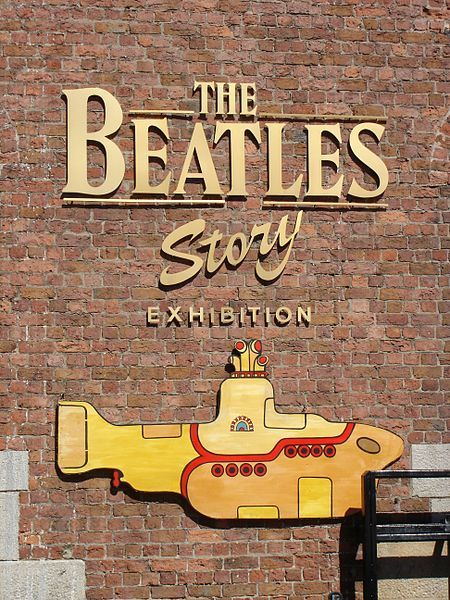 "Entrance to ""The Beatles Story"" Museum at Albert Dock in Liverpool, England."