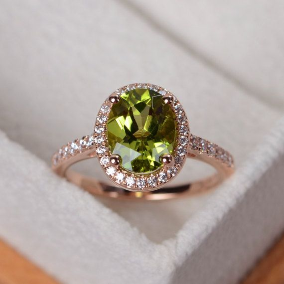 Peridot-Ring August Birthstone Ring Roségold Halo-Ring gold