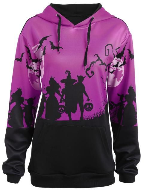 Plus Size Halloween Moon Bat Print Pocket Hoodie Women 2018 Autumn Hoodies Sweatshirts Top Big Size 5Xl Pullovers Purple XXXL