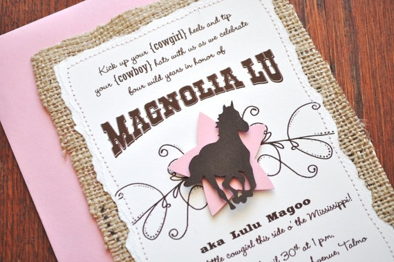 Cowgirl Chic Stitched Burlap Handmade Birthday Party Invitation