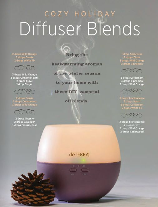 Cozy holiday essential oils diffuser belnds