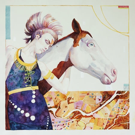 Artwork by Anne Smerdon She who walks with horses - 2013 Watercolour on paper - framed 55 x 55 cm