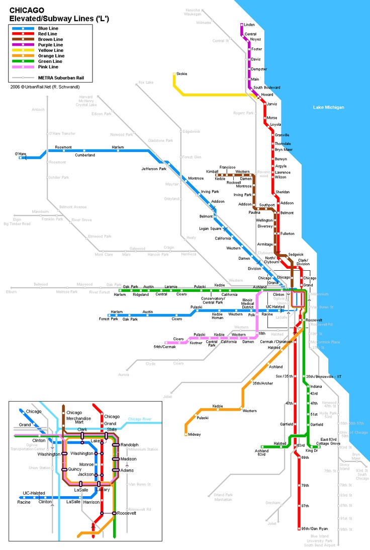 Chicago Subway Maps Geography Images Pinterest Chicago - Chicago brown line map