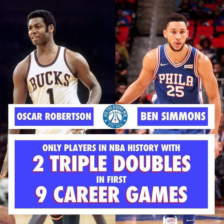 Nuevo triple-doble de Ben Simmons (14 puntos 11 rebotes y 11 asistencias).  Solo Oscar Robertson había conseguido hasta el momento 2 triples-dobles en los primeros 9 partidos de su carrera. #ben #simmons #tripledouble #oscar #robertson #bucks #philadelphia #phila #sixers #76ers #rookie #roy #nba #basketball #baloncesto