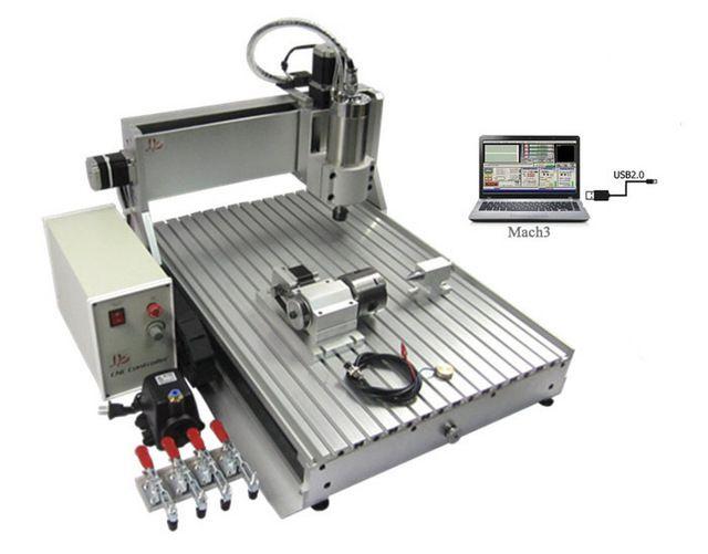 1500 W 4 axes cnc laser de coupe machine 6040Z VFD1.5KW USB USB Port cnc 6040