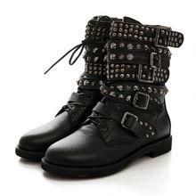 Inverno das mulheres do dedo do pé rodada Rivet Studded salto baixo fivela militar combate moto equitação botas sapatos Plus Size(China (Mainland))