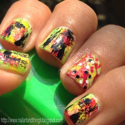 NailArt and Things: Holi Nail Art: Neon Grunge Nail Art