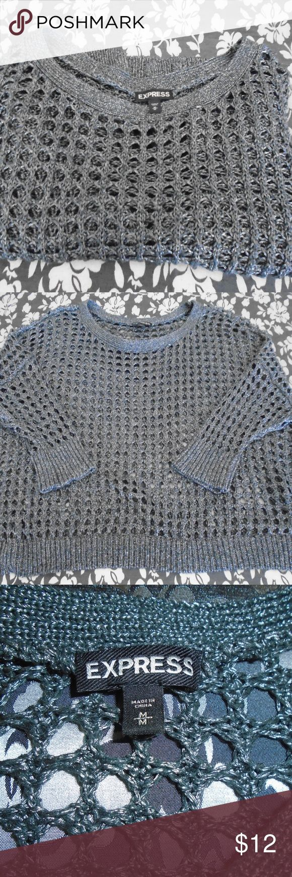 "Express Open Knit Cropped Top Grey/Silver Open Knit Top, Loose Fit, Dropped Batwing Sleeves Acrylic Nylon Blend Pit to Pit 22"" Back 17 1/2"" Sleeve 8' Gently Pre-owned No Rips Stains or Holes Express Tops Crop Tops"