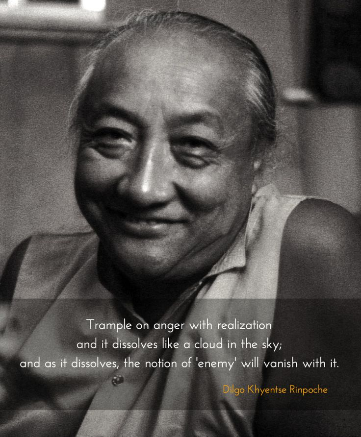 Vanishing the notion of enemy ~ Dilgo Khyentse Rinpoche http://justdharma.com/s/lkxbt  Trample on anger with realization and it dissolves like a cloud in the sky; and as it dissolves, the notion of 'enemy' will vanish with it.  – Dilgo Khyentse Rinpoche  source: https://www.facebook.com/pages/Nalanda-LGBT-Buddhist-Cultural-and-Resource-Center/124706457602973