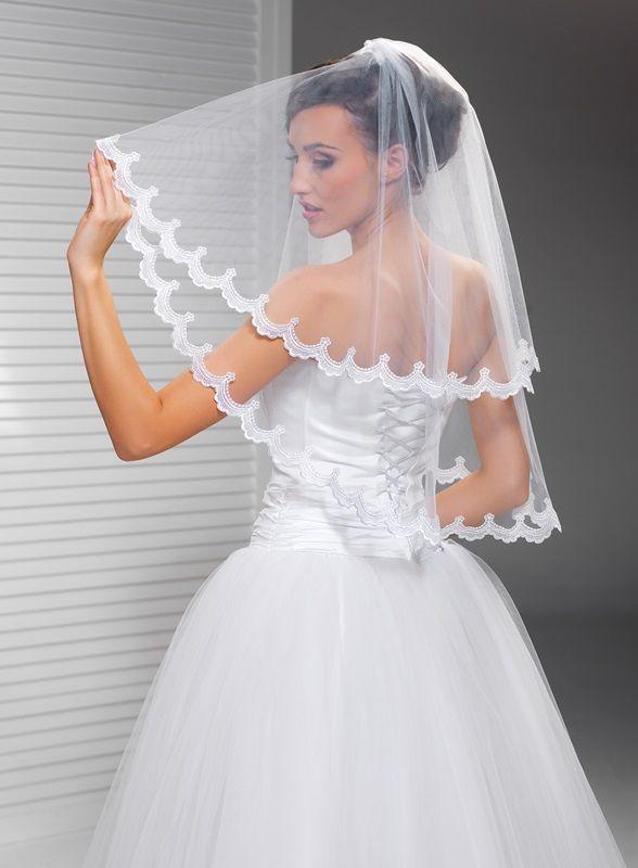 Závoje | krajkový svatební závoj 75/55 cm | Levné svatební šaty, svatební šaty levně - prodej