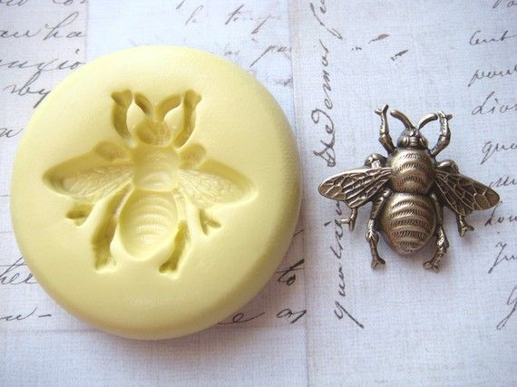 BUMBLE BEE (size small) - Flexible Silicone Mold - Push Mold, Jewelry Mold, Polymer Clay Mold, Resin Mold, Craft Mold, Food Mold, PMC Mold