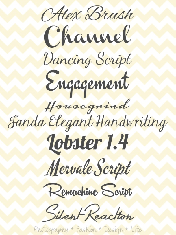 Favorite Cursive Fonts love dancing script and channel
