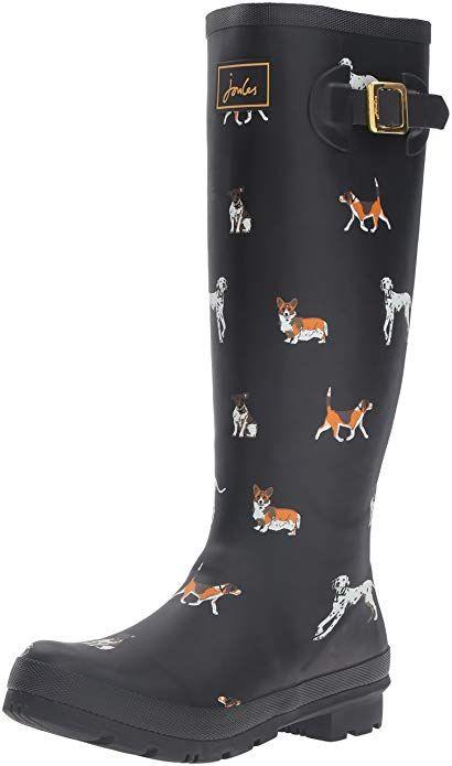 3d6013dca0fd Joules Women s V Wellyprint Rain Shoe, Black Dog, 6 M US   DOG ...