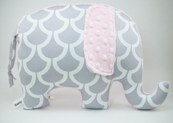 Modern gray and pink nursery decor Elephant Pillow by bakerbaby