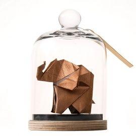 Sculpture en origami sous cloche de verre Eléphant