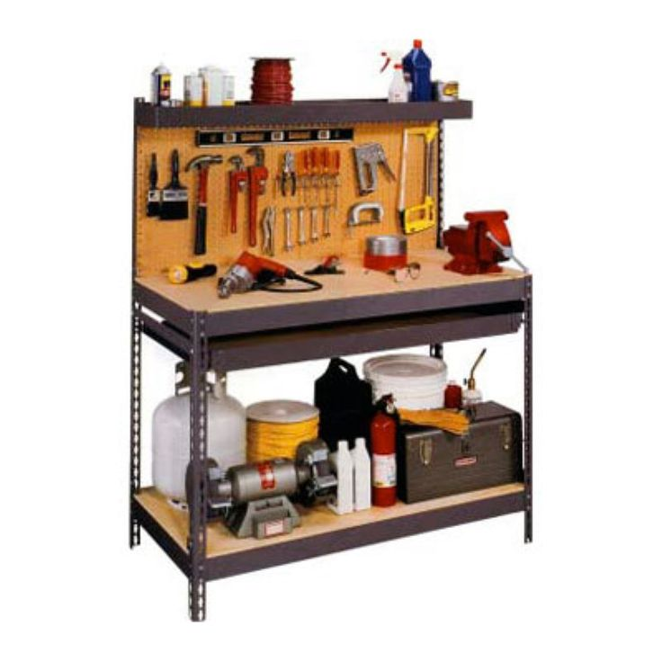Edsal 4 ft. Steel Workbench with Pegboard - MRWB-4