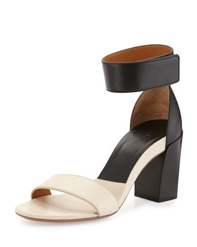 Exclusively at Neiman Marcus: Chloe two-tone black and white, block-heel sandal.