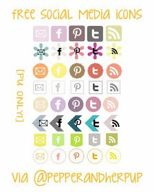 The Pepper And Her Pups: Free Social Media Icons [PU Only!]