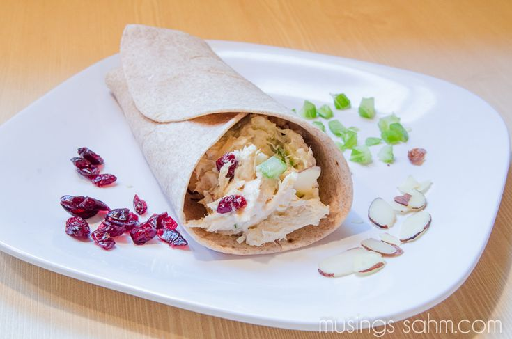 yummy wrap with chicken, slivered almonds, celery, dried cranberries ...