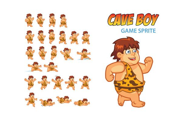 Cave Boy Game Sprite by Gagu on Creative Market