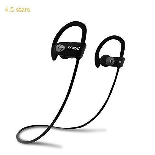 SENSO Bluetooth Headphones Wireless Sports Earphones  w/ Mic IPX7 Waterproof HD Stereo Sweatproof Earbuds for Gym Running Workout 8 Hour Battery Noise Cancelling Headsets