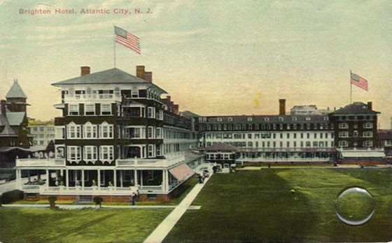 """Brighton Hotel, Atlantic City - 1873 - The Brighton Hotel was on Indiana Avenue, and catered to the """"finest-of-clientele."""" The Hotel was renowned for it's famous punch, called the Brighton Punch. It was a favorite of Ulysses S. Grant. The Brighton Hotel was later turned into the Sands casino. www.ACBoardwalkRealty.com"""