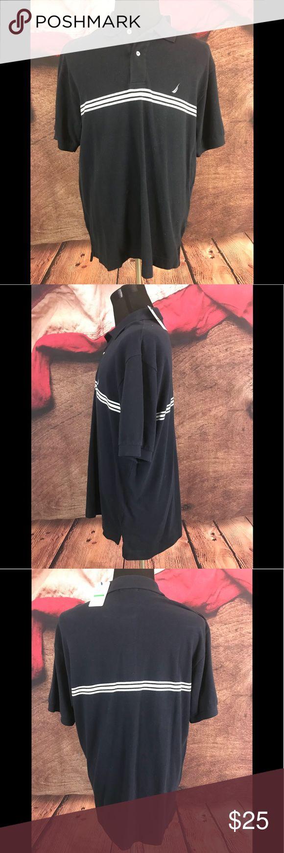 "Nautica Mens Blue Striped Cotton Polo Shirt Large New With Tags Nautica Mens Blue Striped Cotton Polo Shirt Size Large   Size: Large Material: 100% Cotton Color: Blue Measurements: Chest: 23"" / Shoulders: 20"" / Sleeve: 10"" / Length: 28"" Nautica Shirts Polos"