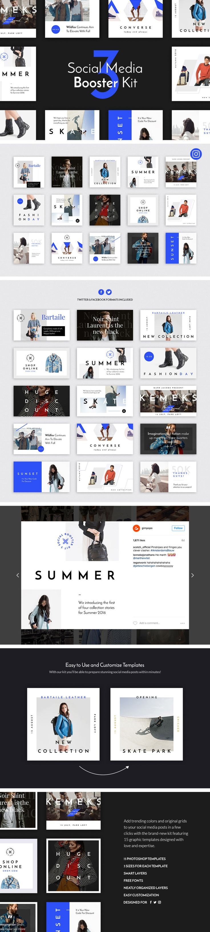https://social-media-strategy-template.blogspot.com/ #SocialMedia The third volume of the Social Media Booster Kit is here, and its bringing an elegance  class to the marketplace. The winning combination of the deep blue color, rich typography, and original grid are intended to help you to stand out from the crowd with simple yet incredibly stylish social media posts. The package includes 15 templates designed natively for Instagram, Twitter, and Facebook. Each of them is easy to edit ...