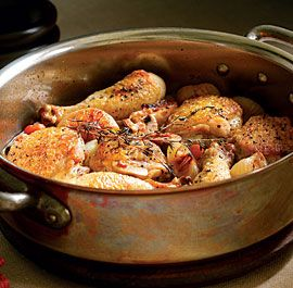 Braided Chicken Legs with White Wine, Bacon  Mushrooms - A large, straight-sided-ovenproof saute pan with a lid is ideal for making these chicken braises.