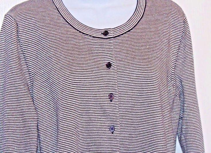 TALBOTS Womens Sweater 2X Black Metallic Silver Cardigan Round Neck LS MINT #Talbots #Crewneck #Anytime