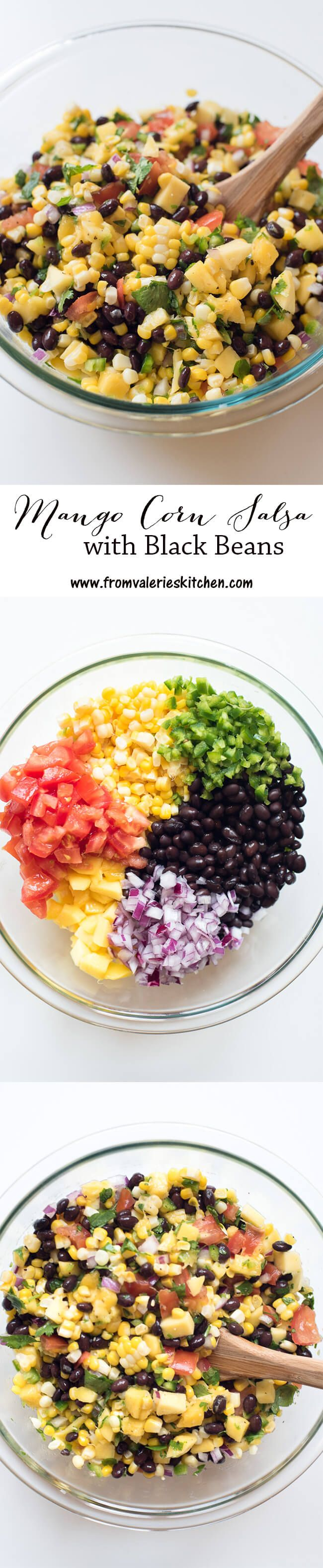 This bright and sunny summer salsa is SO tasty and is a super healthy snack option! ~ https://www.fromvalerieskitchen.com