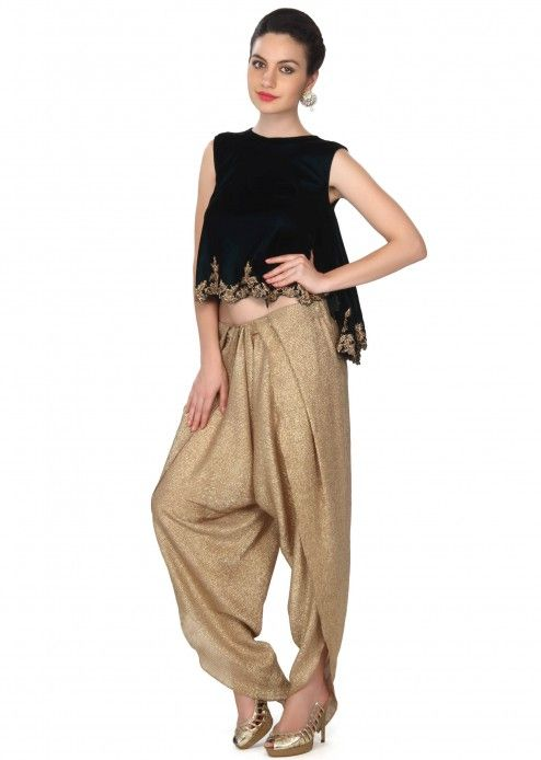 <p>Green flared top matched with fancy dhoti pants only on Kalki</p>
