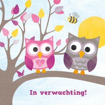 Felicitatiekaart voor zwangerschap, met twee lieve uiltjes op boomtak, met vlinder, bij, zon en hartje. Design: Revista. Te vinden op: www.kaartje2go.nl