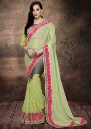 Wedding Wear Green Chiffon Embroidered Work Saree