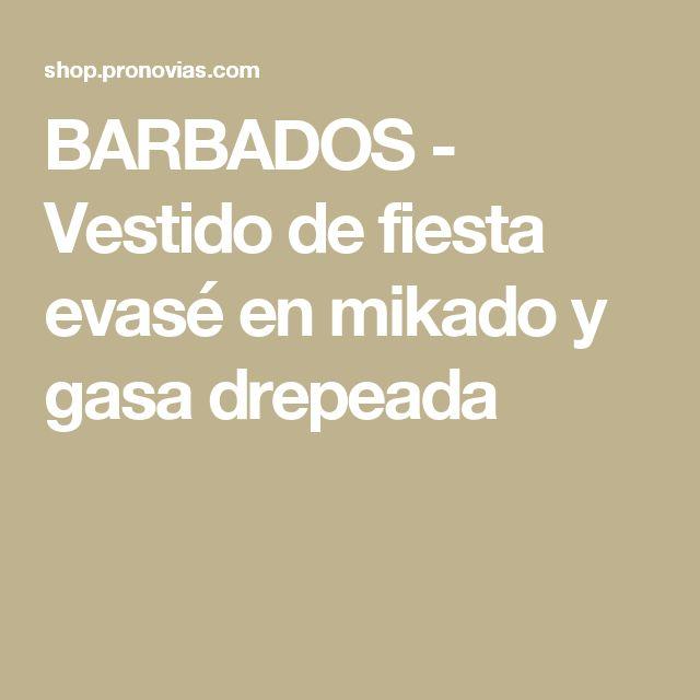 BARBADOS - Vestido de fiesta evasé en mikado y gasa drepeada