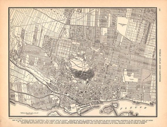 66 best vintage maps images on pinterest vintage cards vintage montreal canada city map 1942 vintage map from world atlas gumiabroncs Choice Image