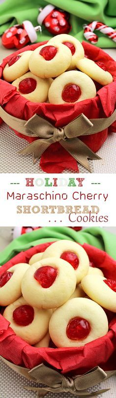 Dec 3, 2016 - Holiday Maraschino Cherry Shortbread Cookies... Christmas, New Year, Santa Claus, Christmas Tree, Cookies… everything is about holidays... :-)