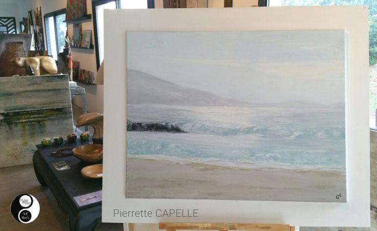 """Pierrette CAPELLE """"Olmeto plage"""" huile sur toile 110x80  À voir en galerie AA'Zart'S #peinture #huile #marine #galerie #sartene"""