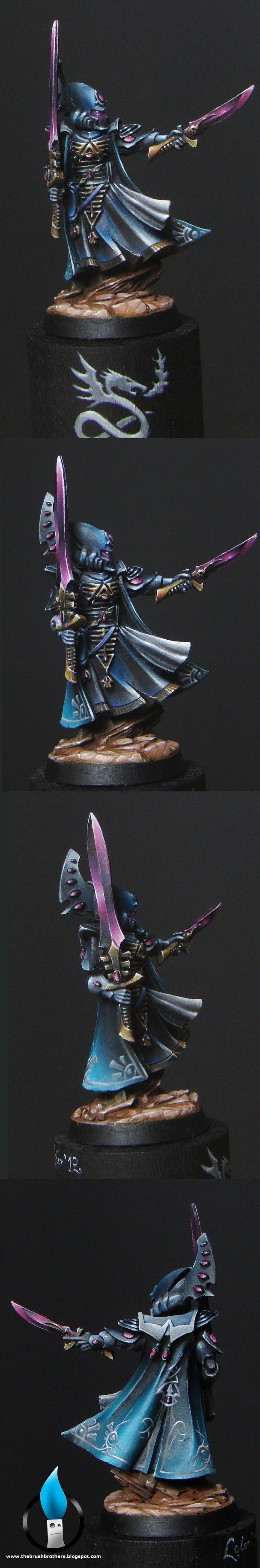"Warhammer 40k, Eldar Farseer. Great shading and ""non-metallic-metals"" painting!"