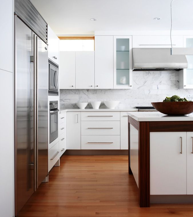 white island with brown border via modern classic kitchens cityhas design - Classic Contemporary Kitchens