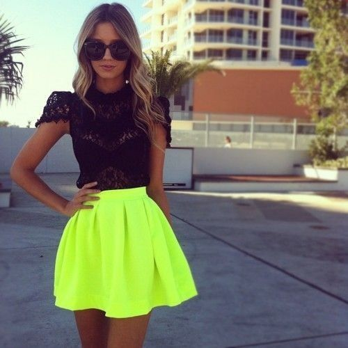 Black Lace & Neon Skirt: Black Lace, Fashion, Style, Neon Skirt, Skirts, Clothes, Lace Top, Dress, Outfit