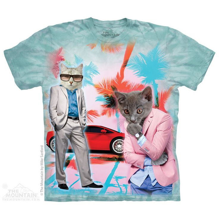 Miami Vice Cat T shirt Tie Dye Tshirt - FREE Delivery funny T shirt Cats Undercover T shirt by Lollipoptshirts on Etsy