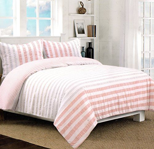Nicole Miller Home 3pc Full Queen Seersucker Duvet Cover