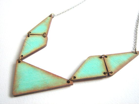 Geometric Necklace Wood Triangles NecklaceWood by LiKeGjewelry