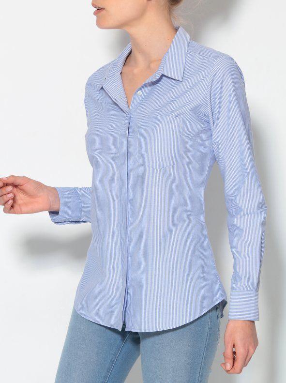 Camisa de rayas mujer manga larga con puño diseño clásico                                                                                                                                                     Más