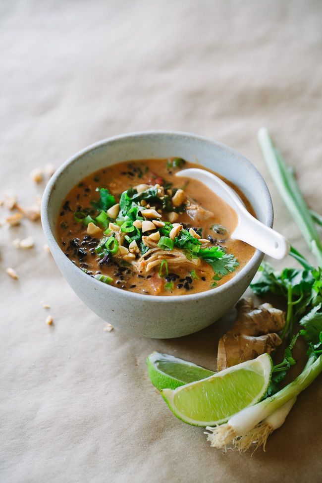Thai Chicken Forbidden Rice Soup -