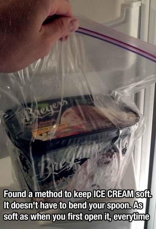 Use a sealable bag to keep ice cream soft.